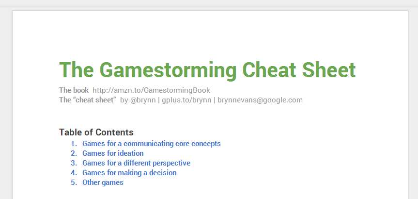 Gamestorming cheat sheet